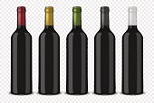 Set 5 realistic vector black bottles of wine without labels isolated on transparent background. Design template, mockup. EPS10 illustration.