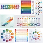 Set 8 universal templates elements Infographics conceptual cyclic processes for 10 positions
