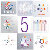 Set 8 universal templates elements Infographics conceptual cyclic processes for five positions possible to use for workflow, banner, diagram, web design, timeline, area chart,number options