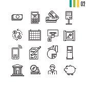 Vector financial linear outline icons. Accounting, money and coin, atm terminal and banking equipment in thin lines