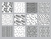Vector set of hand drawn seamless pattern made witn ink. Freehand textures for fabric, polygraphy, web design.