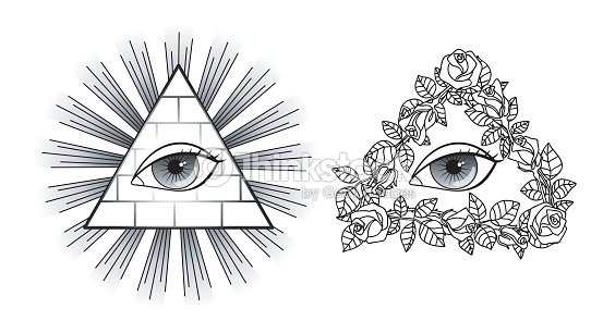 Set All Seeing Eye Pyramid Light And Roses Vector Art
