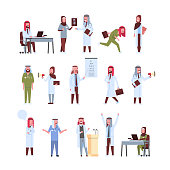 set arab doctors different poses working process arabic man woman in uniform hospital medicine workers collection male female cartoon characters full length flat vector illustration