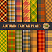 Set  Tartan Seamless Pattern Background. Autumn color panel Plaid, Tartan Flannel Shirt Patterns. Trendy Tiles Vector Illustration for Wallpapers.