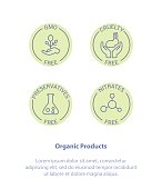 Isolated Vector Style Illustration icon Set Badge Ingredient Warning Label Icons. GMO, Cruelty, Preservatives, Nitrates Free Product Stickers. Flat Line Icon Design