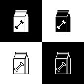 Set Bag of food for pet icons isolated on black and white background. Food for animals. Dog bone sign. Pet food package. Vector Illustration