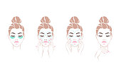 Set beautiful woman healthcare, making massage and mask, young woman face beauty with clean fresh skin. Vector illustration.