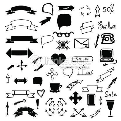 Set Black Business Icons Arrows Ribbons Vector Art