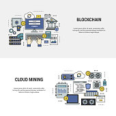 Set blockchain and mining concept banners flat design line art. Set of icons of banking and payment by bitcoins, devices for mining of crypto currency. For web site, application and print