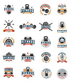 Set of vector color bodybuilding emblems, badges, stickers isolated on white.