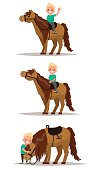 Set boy with a horse. Boy riding on horseback. Boy hugging a horse. Vector illustration of a flat design