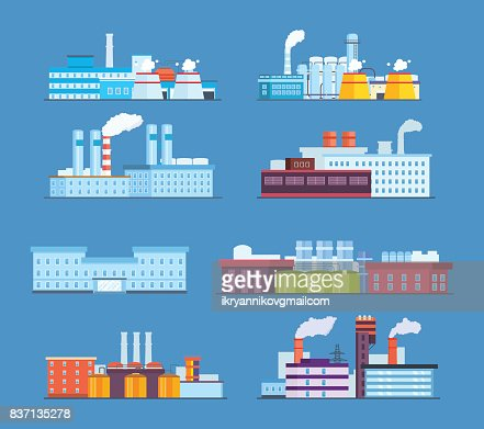 Set buildings: industrial, chemical, helium plants, oil, administrative building, hospital : arte vettoriale