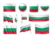 Set Bulgaria flags, banners, banners, symbols, flat icon. Vector illustration of collection of national symbols on various objects and state signs