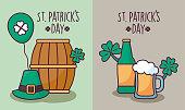set cards of st patrick day vector illustration design