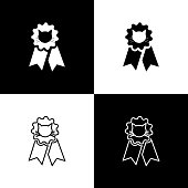 Set Cat award symbol icons isolated on black and white background. Medal with cat footprint as pets exhibition winner concept. Vector Illustration