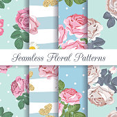 Set collection of floral seamless patterns with roses and butterflies background. Vector illustration.