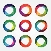 set collection of trendy multicolored overlapping transparent circle shaped design elements