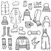 Vector cute hand drawn set collection with winter elements of clothes and other cozy warm stuff for girls