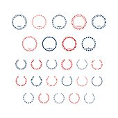 Set color icons of laurel wreath and modern frames isolated on white. This illustration - EPS10 vector file.