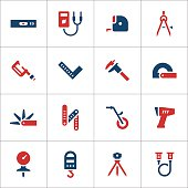 Set color icons of measuring tools isolated on white. This illustration - EPS10 vector file.