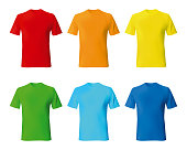 Set color male tshirt template realistic mockup. Vector illustration.