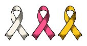 Set color ribbons aids awareness isolated on white background. Vector vintage engraving illustration for web and poster. Hand drawn in a graphic style.