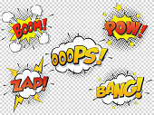 Set Comic speach bubble with prase Boom, Bang, Oops, Pow, Zap. Vector Comic cartoon sound bubble speech.