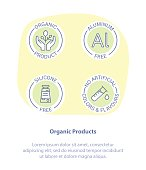 Thin Line Icon Set Concept of Healthy Products. Organic, Aluminum Free, Silicone Free and No Artificial Colors and Flavors. Healthy food badges, tags set for cafe, restaurants, products packaging.