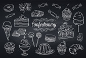 Hand drawn set confectionery and sweets icons on chalkboard. Dessert, lollipop, ice cream with candies, macaron and pudding. Donut and cotton candy, muffin, waffles, biscuits and jelly. Vector illustr