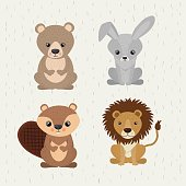 set cute animals wildlife icon vector isolated graphic