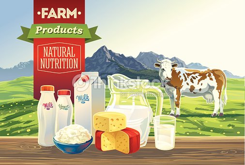 Set Dairy Products With A Cow And Mountain Landscape ...