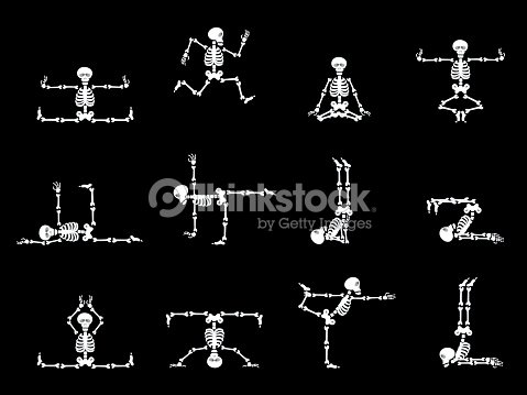 Set Design Elements Funny Skeletons Dancing And Yoga stock