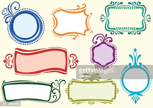 set draft label frame design vector art