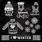 Set drawings knitted woolen clothing and footwear. Sweater, hat, mitten, boot, scarf with patterns, snowflakes. Winter sale shopping concept to design banners, price or label. Stylized drawing chalk o