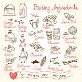 Set drawings of baking ingredients for design menus, recipes. Vector Illustration.