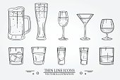 Set drink alcohol  glass for beer, whiskey, wine, tequila, cognac, champagne, brandy, cocktails, liquor. Vector illustration isolated on white background.