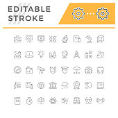 Set editable stroke line icons of education isolated on white. Vector illustration