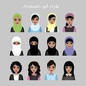 set - face Arab women avatar, stock vector illustration