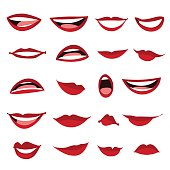 Set female lips isolated on a white background. Female lips in cartoon style. Lips with a variety of emotions, facial expressions. Vector illustration.