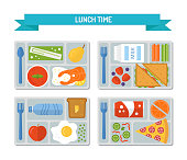 Set lunches on a tray. Healthy food. Business or schooll lunch. Flat style. Vector illustration.