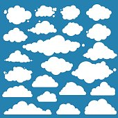Set for blue sky, different clouds icons, cloud shapes, labels, symbols, icons. Flat graphic vector elements