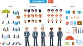 Businessman character creation. Set of different objects with which you can create a character businessman, clothing, faces. Front, side, back view of male person, with different emotions on the face.