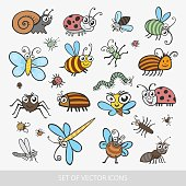 Set funny insects. Isolated on white background. Wasp, bee, bumblebee, butterfly, worm, caterpillar, beetle, ladybug, grasshopper, fly, mosquito, dragonfly, spider, snail, ant,  Colorado beetle. flat