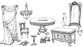 otline of the classical interior dining room, set  furniture -table, stool, shower curtain, chandelier, chest of drawers, a vase, cushions, decorative elements