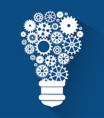 set gear bulb team work design isolated vector illustration eps 10