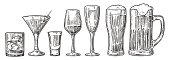 Set glass beer, whiskey, wine, tequila, cognac, champagne, cocktails Vector engraved vintage illustration isolated on white background.