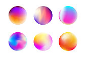 Vector illustration gradient colorful sphere in trendy style. Set moden fluid shape for banner, template, web