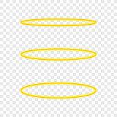 Set Halo angel ring . Holy golden nimbus circle isolated on transparent background. Vector stock illustration.