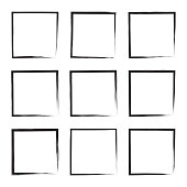 Set hand drawn square, photo, foto frame. Text box from black smears. Vector Black stroke border