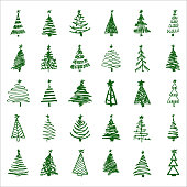 Set hand-drawn sketch Christmas and New Year tree. Vector illustration